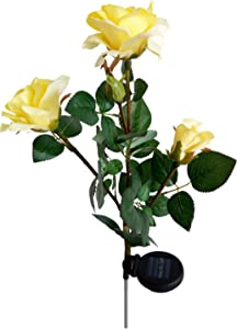 Solar Yellow Rose Flower Lights, Solar Powered Garden Outdoor Decorative Landscape LED Rose Lights Year-Round, Great Gift