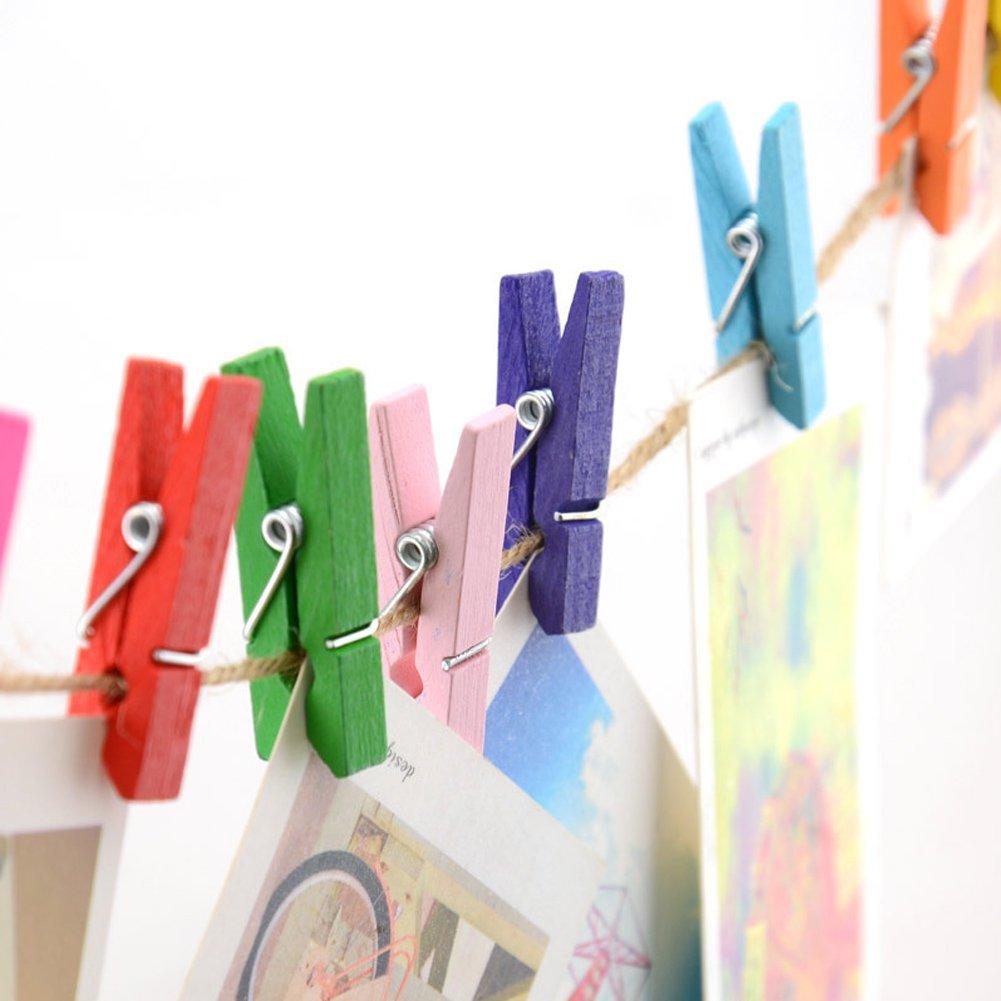 Ireav Wood Clothes Clip, Mini Pins Clothespin Colorful/Home Decor Photo Paper Clamp/Craft Arts Clips 35MM 50Pcs