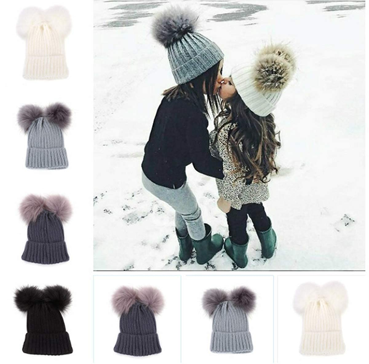 Diconna Unisex Toddler Kid Winter Warm Hat Cable Knit Pompom Crochet Beanie Cap