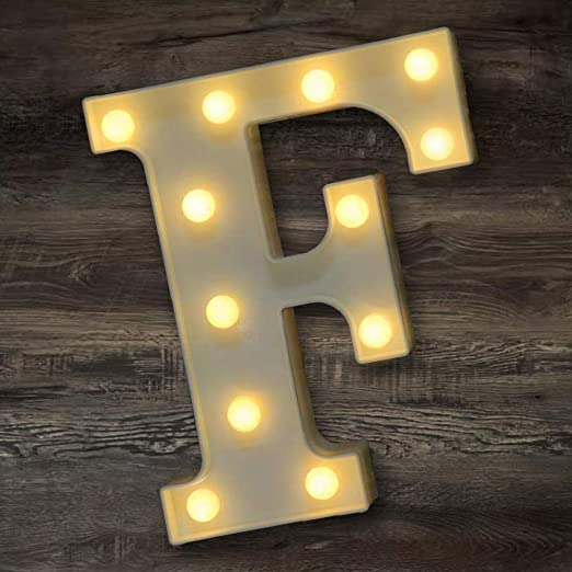 YOEEN LED Marquee Letter Lights Sign Light Up Letters Battery Powered Alphabet Letters for Wedding Birthday Party Christmas Night Light Home Bar Decoration (F)
