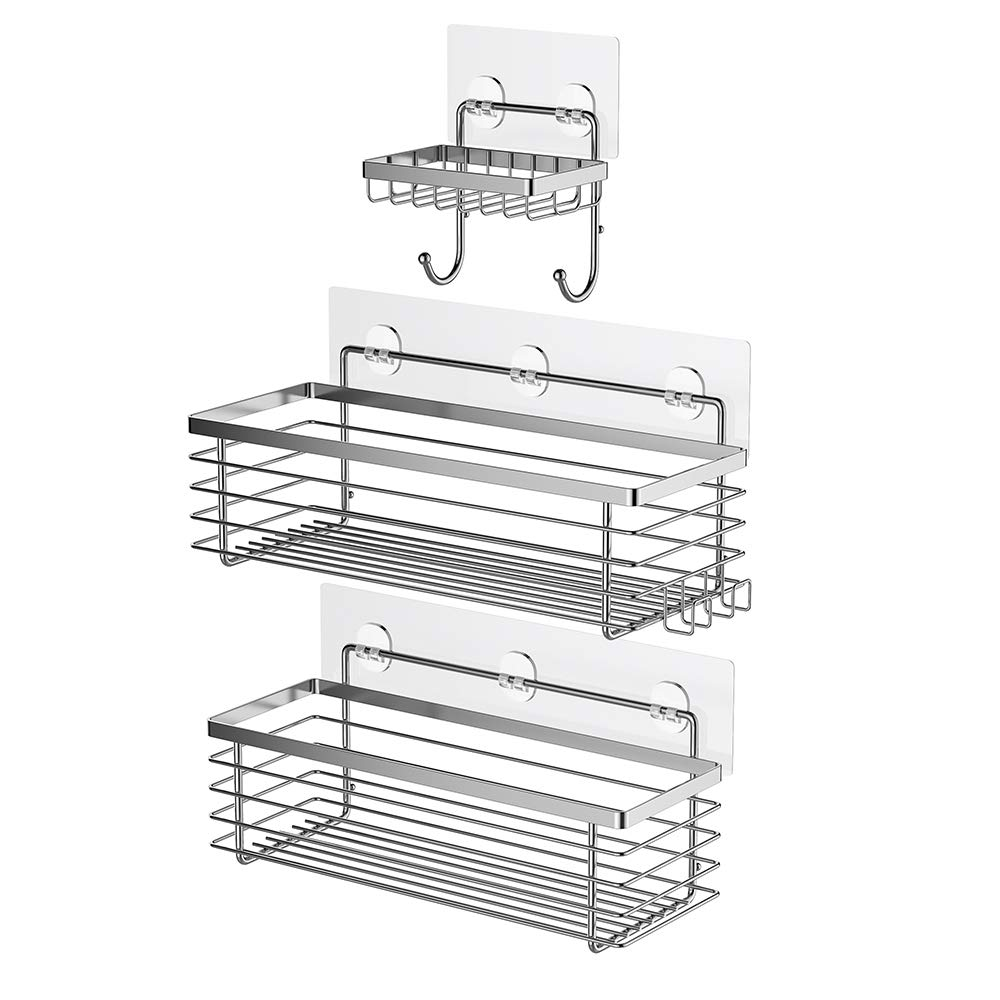 ODesign Shower Caddy Basket with Hooks Soap Dish Holder Shelf for Shampoo Conditioner Bathroom Kitchen Storage Organizer SUS304 Stainless Steel Adhesive No Drilling - 3 Pack by ODesign