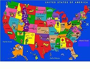 kids educational united states rug 6 6 x 8 4
