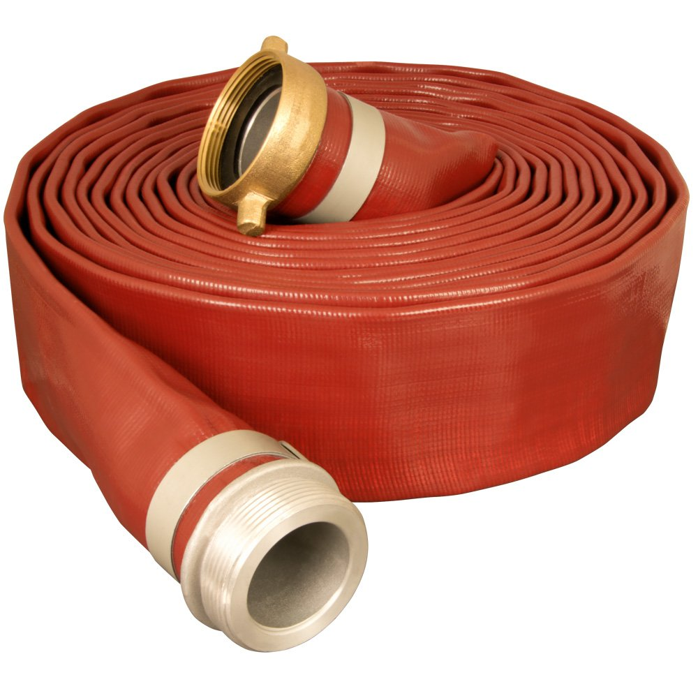 Apache 98138126 2'' x 25' Brown Medium-Duty PVC Lay-Flat Discharge Hose with Aluminum Pin Lug Fittings by Apache