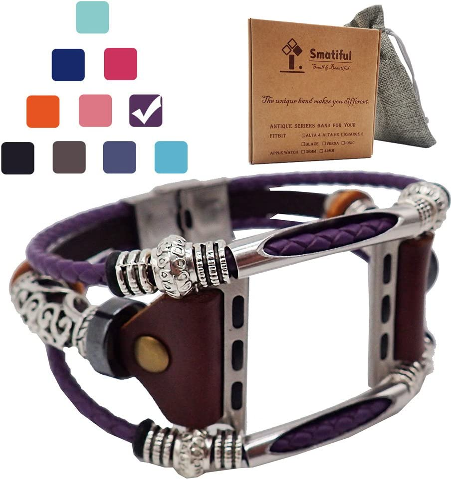 Smatiful Fashion Bands with Box Pack for Girl, Adjustable Accessories Watch Band for Apple Watch 1,2,3,4,5,6 se 42mm & 44mm,Lavender Purple
