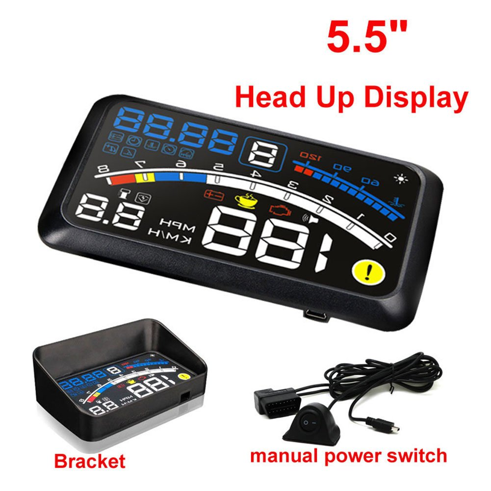5.5 inch OBDII Car Windshield HUD Head Up Display, OBD2 II/EUOBD car HUD Head Up Display with Over speed Warning System, Projector Windshield Auto Electronic Voltage Alarm, Bracket (blue) by blue--net (Image #9)