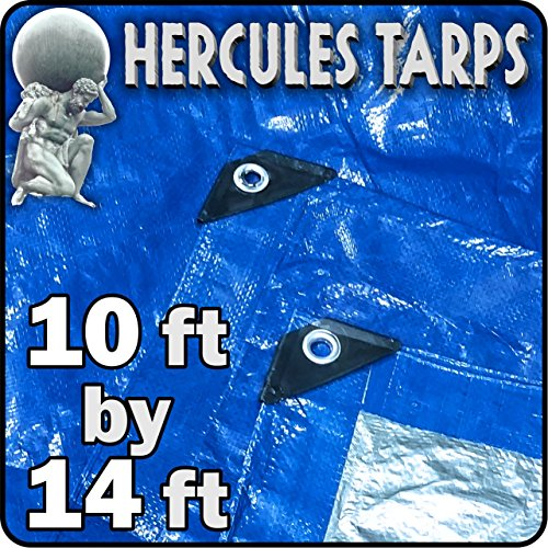 EasyGO Tarp2-10x14-1 Hercules Shelter Cover Waterproof Tarpaulin Plastic Tarp Protection Sheet for Contractors, Campers, Painters, Farmers, Boats, Motorcycles, Hay Bales-10'x14', - 14' Vinyl Tarp