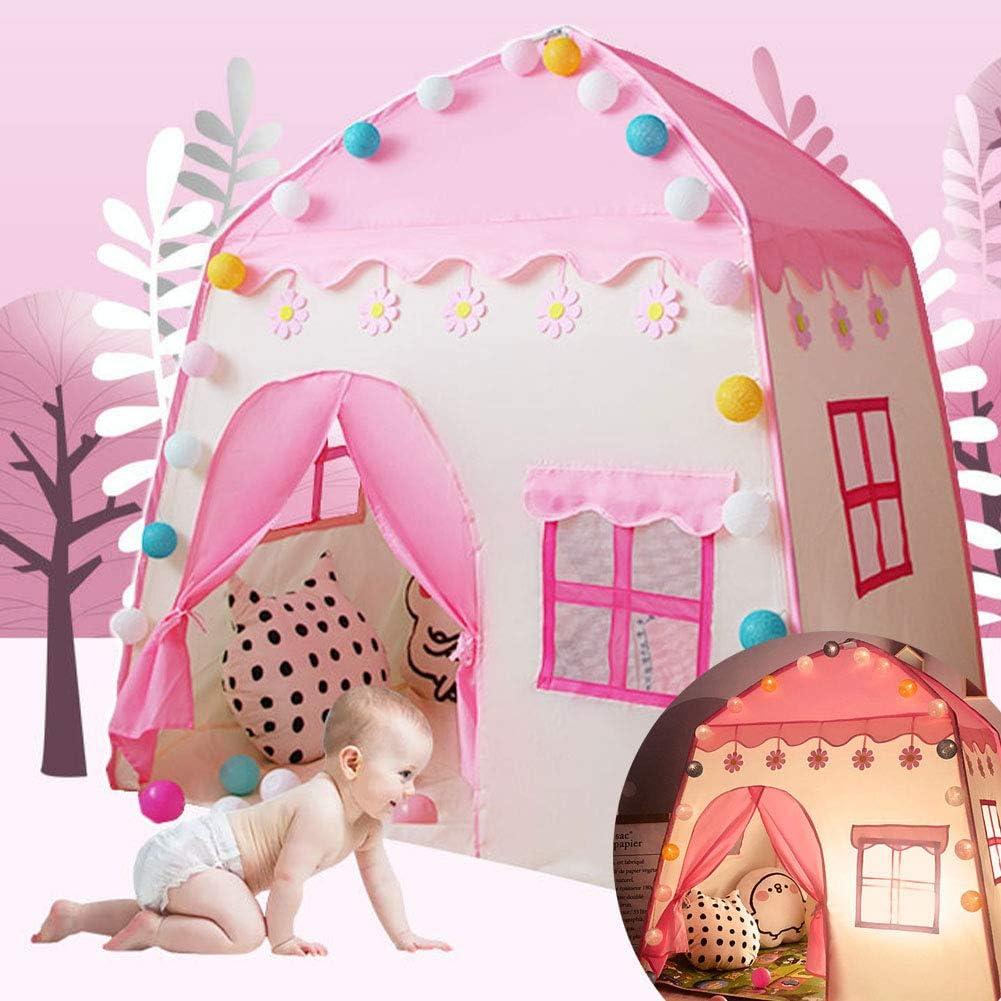 Tipi Tienda De Campaña para Niños Casa De Juguete Niño Niña con Bolsa De Almacenamiento Decoración De Dormitorio con Diseño De Cortina Castillo Tela Oxford + Varilla De Fibra De Vidrio: Amazon.es: