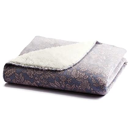 Amazon Sonoma Periwinkle Blue Floral Sherpa Fleece Micromink Stunning Periwinkle Throw Blanket