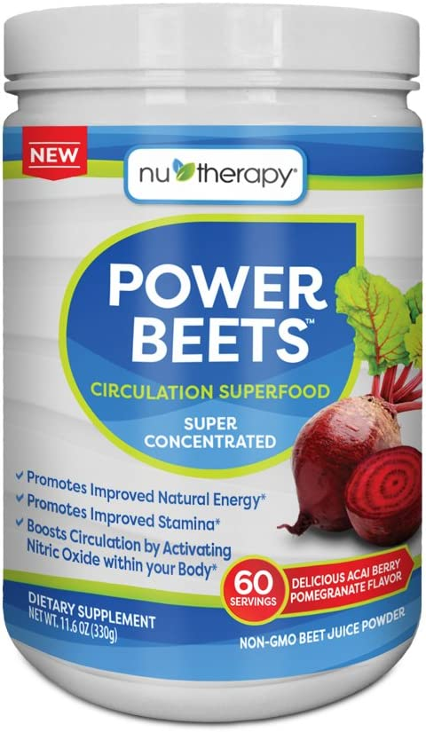 Nu-Therapy Power Beets Super Concentrated Circulation Superfood Dietary Supplement Delicious Acai Berry Pomegranate Flavor Non-GMO Beet Root Powder, 60 Servings