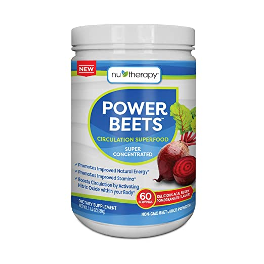 Nu-Therapy Power Beets Super Concentrated Circulation Superfood Dietary Supplement - Delicious Acai Berry Pomegranate Flavor - Non-GMO Beet Root Powder, 60 Servings