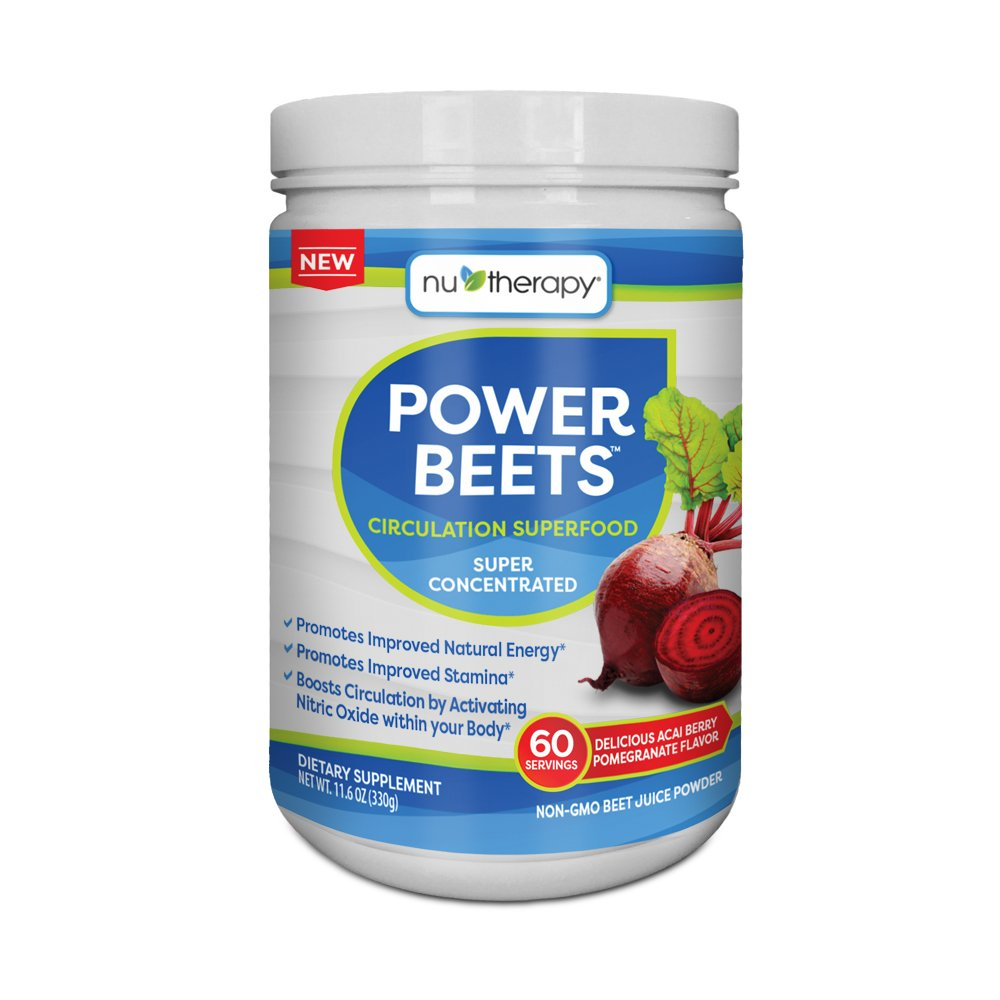 Nu-Therapy Power Beets Super Concentrated Circulation Superfood Dietary Supplement – Delicious Acai Berry Pomegranate Flavor – Non-GMO Beet Root Powder, 60 Servings