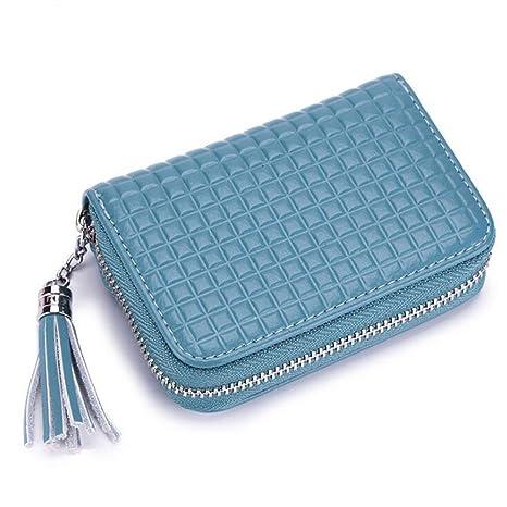 DcSpring RFID Mujer Cartera Tarjeteros Mini Cuero Genuino Monedero Pequeñas Piel con Cremallera Portatarjetas con Borla (Azul)
