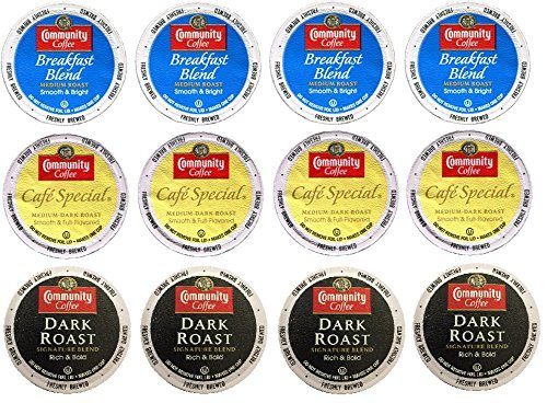 Community Coffee Breakfast Blend, Cafe Special, Dark Roast K-Cup Sampler, 12 Count