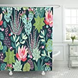 Emvency Shower Curtain Cactus with Succulents and Cactuses Inky Trendy Tropical Design Flower Mexican Waterproof Polyester Fabric 72 x 72 inches Set with Hooks
