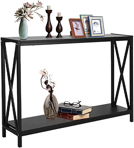 Greensen Entryway Console Table with Storage Shelf Sofa Table for Living Room Bedroom Hallway Balcony, X-Design Long Narrow Accent Table, Black