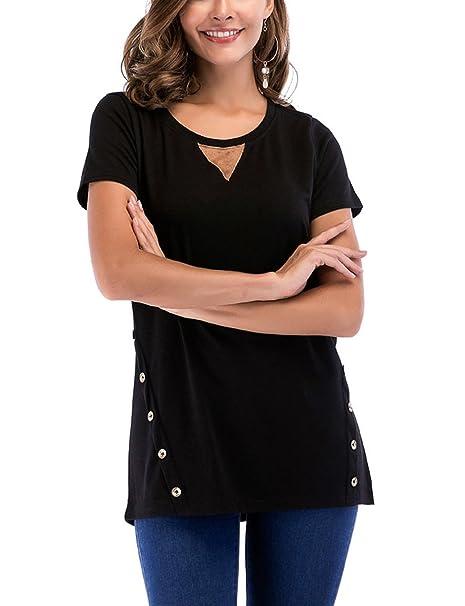 17b795feb5c Perfashion Women's Summer Tunic Casual Tops Short Sleeve Crew Neck Plain T  Shirts, Black,