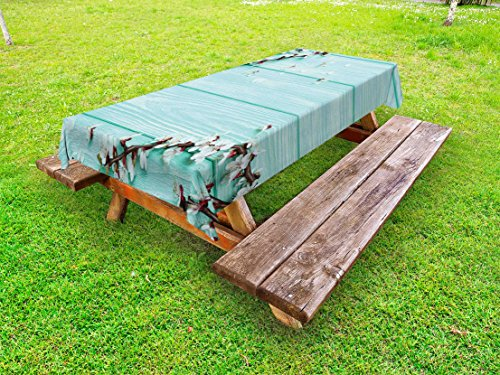 Table Cherry Plank (Lunarable Mint Outdoor Tablecloth, Spring Cherry Blossom Petals Branch on Rustic Wooden Planks Seasonal Picture, Decorative Washable Picnic Table Cloth, 58 X 104 inches, White Brown Seafoam)