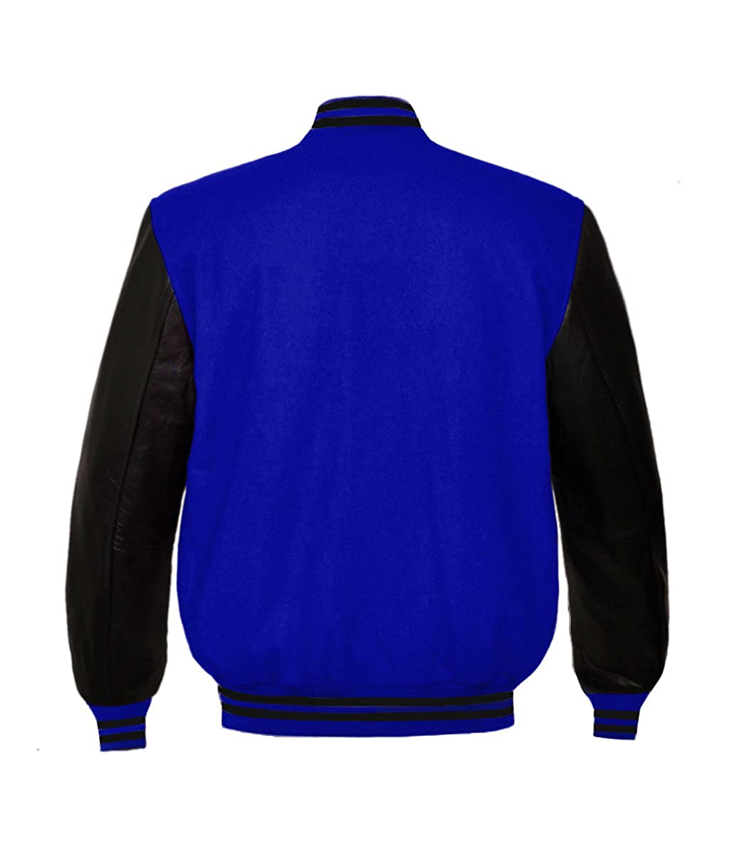 Superb Genuine Leather Sleeve Letterman College Varsity Men Wool Jackets