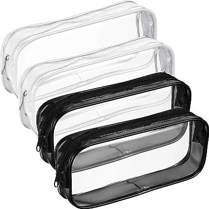 SOMIO4PCS Bolsa de aseo de PVC transparente con cremallera impermeable bolsa de maquillaje cosméticos, estuche para lápices: Amazon.es: Oficina y papelería