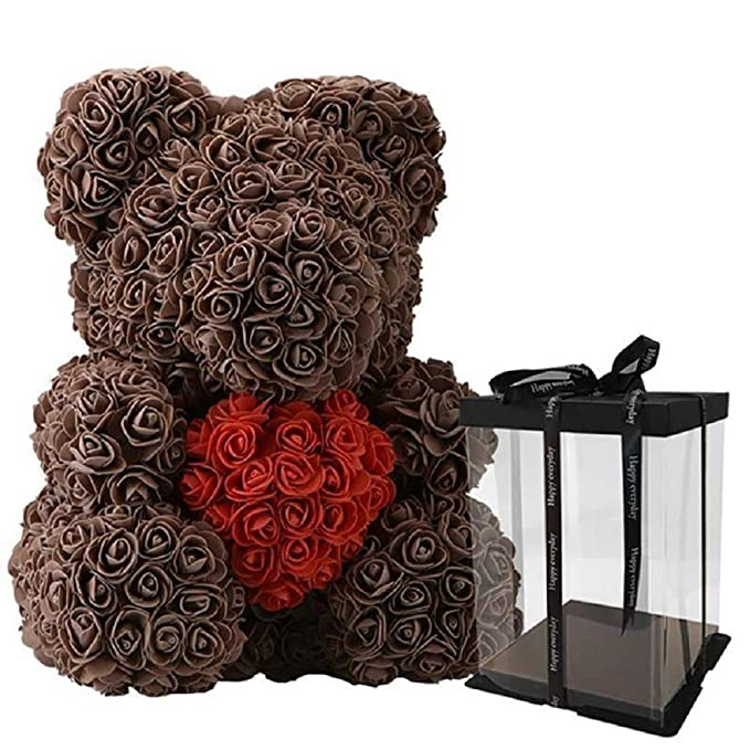 Disnation 40cm Big Rose Teddy Bear with Heart Flower Artificial Decoration  Gifts for Women with Presentable Gift Box for Valentines Day Anniversary