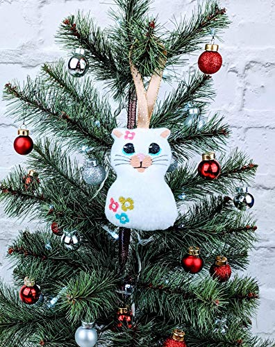 Handmade White Cat Christmas Tree Decoration/Christmas Ornament/Tree Topper with machine embroidered face and flowers ()