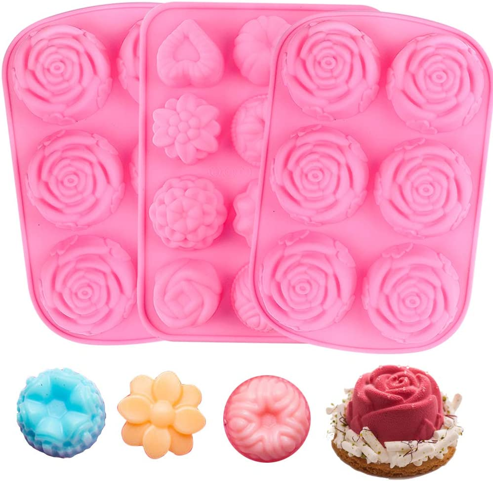 Silicone Flower DIY Mold Rose Handmade Chocolate Biscuit Cake Muffin YGEOMET 3pcs Soap Mold Pink