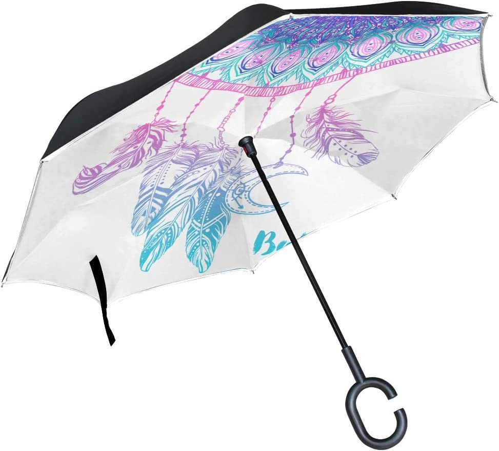 Double Layer Inverted Inverted Umbrella Is Light And Sturdy Dreamcatcher Feathers Beads Native American Indian Reverse Umbrella And Windproof Umbrell