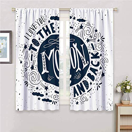 DILITECK Cloth Curtain I Love You When You Love Too Much Stylized Nature Element Comet Happy Valentines Mood for Bedroom Kindergarten Living Room W108 x L84 Inch Dark Blue White