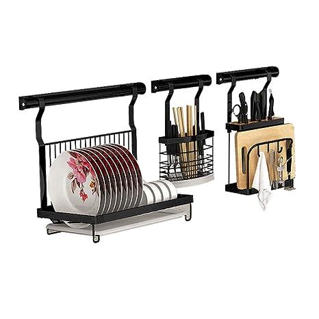 estante de plato Soporte para racks de escurridor de platos con bandeja y soporte para cubiertos