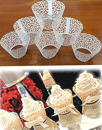 50pcs Premium Vine Filigrana de encaje pastel cupcake Cases wrappers wraps Baking Cups Muffin Holder maletero Decoración Boda Fiesta de cumpleaños Baby Shower, Blanco