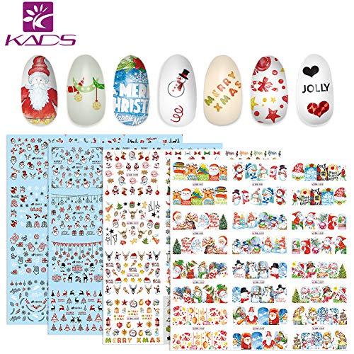 KADS Christmas Nail Art Sticker Tip Sticker Nail Art Transfer Water Sticker with Santa Claus Christmas Tree Elk Snowflakes 4 Sheets
