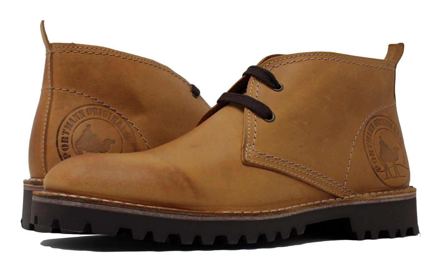 PORTMANN Desert Chukka Boots Antique Oiled Leather | Summer Boots | ExtraLight Sole | Made in Europe | (45 M EU / 11.5 D(M) US, Wheat Nubuck Camel)