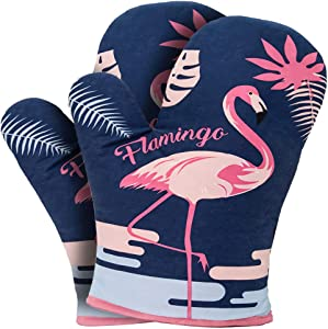 YZEECOL Oven Mitts Soft Cotton Heat Resistant Cute Flamingo Design Gloves Safe Kitchen Baking Grilling Microwave Oven Mitts Navy