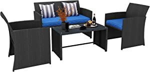 YITAHOME 4 Piece Patio Furniture Sets, Outdoor All-Weather Sectional Sofa Manual Weaving Wicker Rattan Small Patio Conversation Sets for Garden Poolside Porch Backyard Lawn Balcony, Black