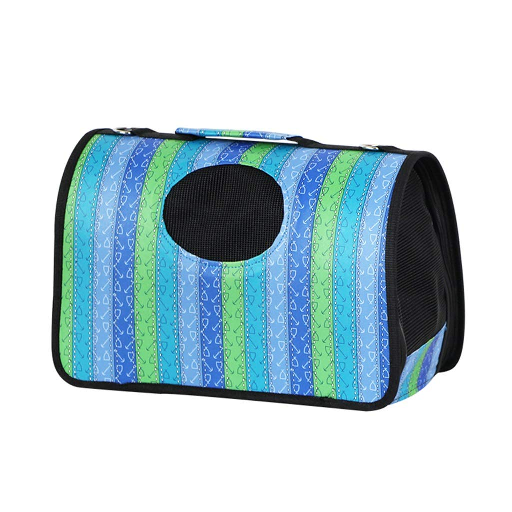 bluee S bluee S Backpacks Pet bag cat Dog Bag Out Bag Large Size Breathable Comfortable Carrying bluee Striped Gift (color   bluee, Size   S)
