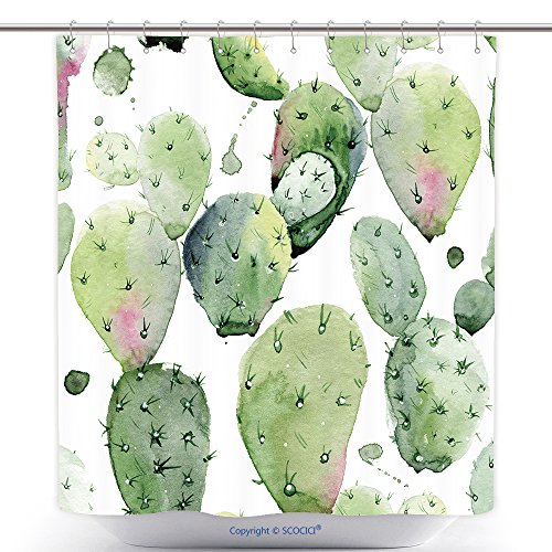 [Antibacterial Shower Curtains Watercolor Seamless Pattern Watercolor Cactus Seamless Floral Pattern Background Wallpaper 487692574 Polyester Bathroom Shower Curtain Set With Hooks] (Cactus Costume Ebay)