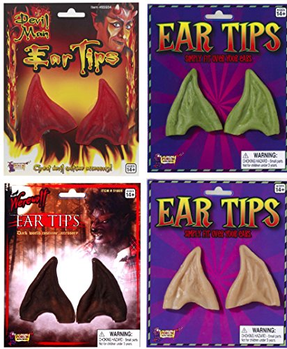 Forum Men's Pointed Elf Ears, Green, One