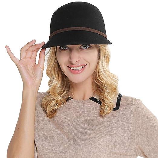 162c737f9d1 British Style Winter Wool Felt Hats for Women Wide Brim Vintage Cloche Hat  Sombreros (Black