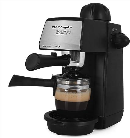 Orbegozo EXP 4600 Cafetera a presión, capacidad 2 4 tazas, bandeja de goteo extraíble, vaporizador, jarra de cristal, 870 W