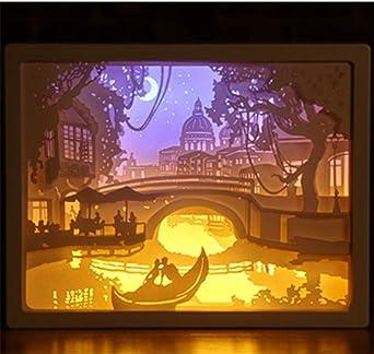 Lámpara de luz de talla de papel 3D Silueta tridimensional Lámpara ...