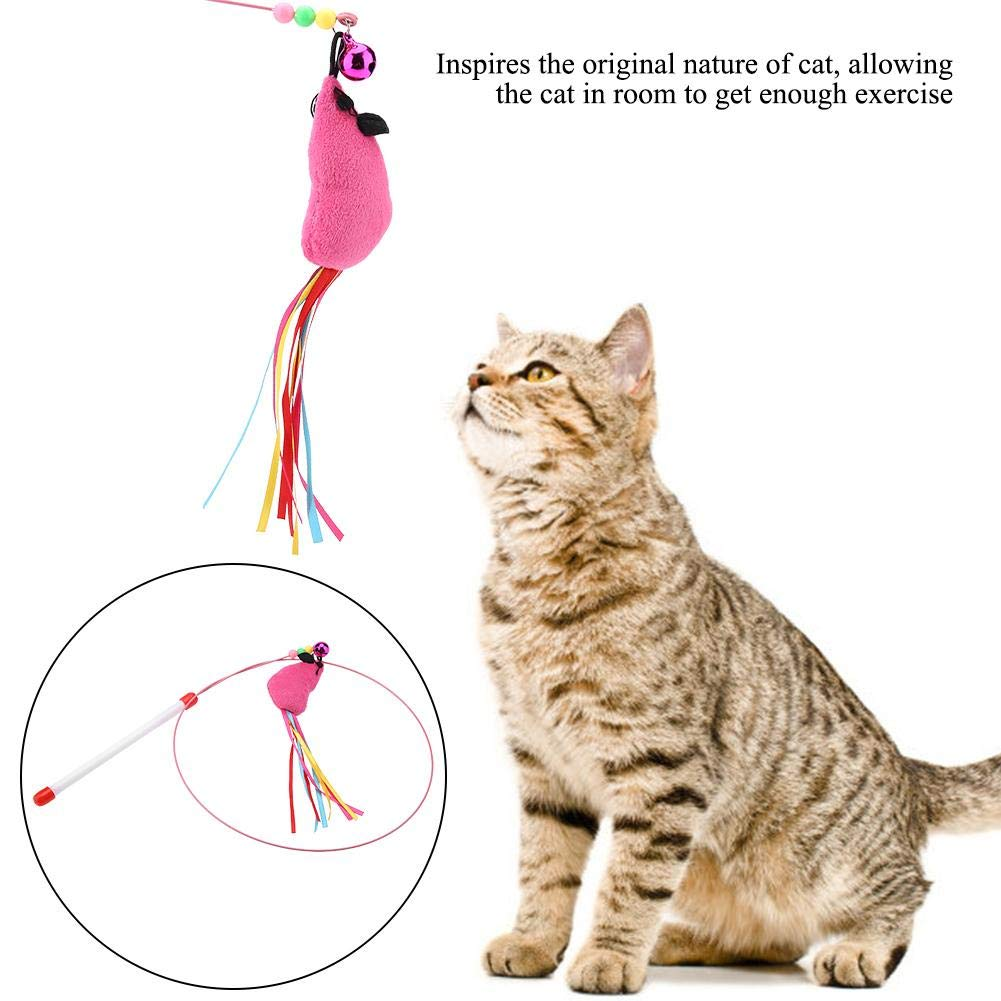 HEEPDD Cat Feather Toy Mouse High Elastic Steel Wire Teaser Wand Colorful Mint Bell Beads Training Chaser Interactive Toy for Kitten Cats Exercise Play Fun Gifts