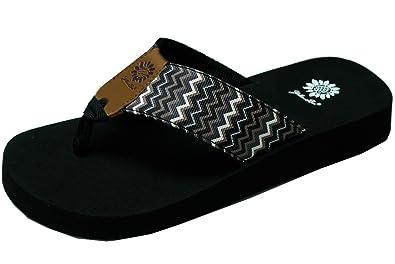84e2fbbd4cda Yellow Box Womens Paige Chevron Print Wedge Flip Flop Sandals