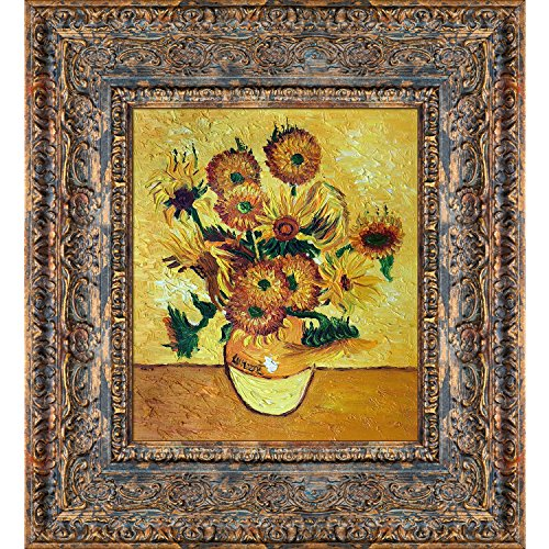 (overstockArt Vase with Fifteen Sunflowers Artwork by Vincent Van Gogh with Parisian Tortoise, Ornate Detail with Antique Tortoise Shell Finish)