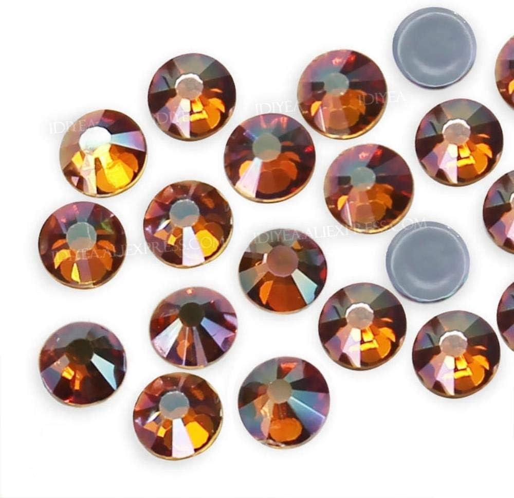 PENVEAT Amber hotfix Rhinestones Flatback Crystals Strass Stone para Hot Fix en Tela Vestido Ropa Ropa Bolsos Brillos Apliques Decoraciones, SS6 1440pcs