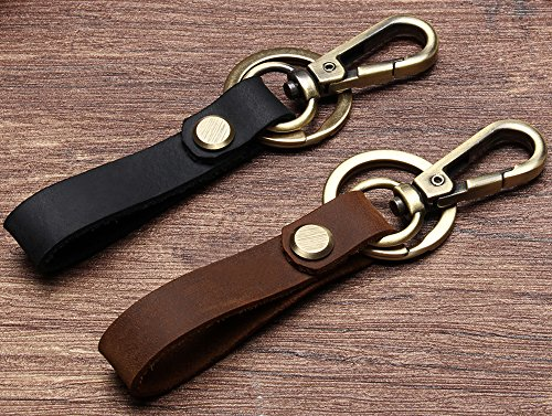 Lecxci Retro Leather Key Chain Organizer with Hanging Buckle for Car Home Keys