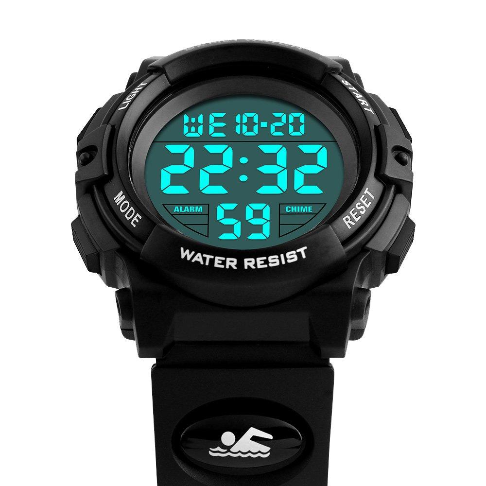 amstt Digital Reloj de pulsera Niños Relojes Niñas Reloj Deportivo LED Iluminación de agua Densidad Alarma Unisex Reloj Deportivo (Negro): Amazon.es: ...
