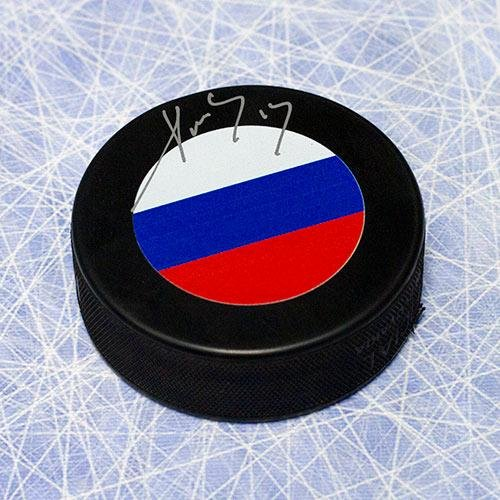 Pavel Datsyuk Signed Puck - Team Russia Olympic - Autographed NHL Pucks