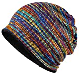 ski conditioning - KUYOU Women's Multifunction Plus Cashmere Hat Skull Cap Scarf (Rainbow)