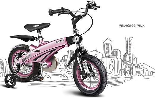 SJSF Y Bicicletas con Ruedas de Entrenamiento Bicicleta para niños, con Marco de aleación de magnesio para Adaptarse a Las Proporciones de su Hijo, tamaños de Ruedas de 12 Pulgadas,Pink: Amazon.es: Jardín