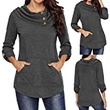 #10: Women's Long Sleeve Cowl Neck Kangaroo Pocket Pullover Sweatshirt Blouse Top